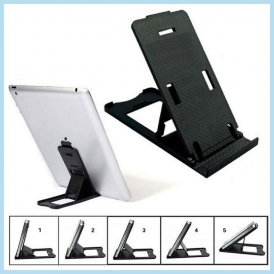 Mobil- og tabletholder - Bord - Justerbar, Sort